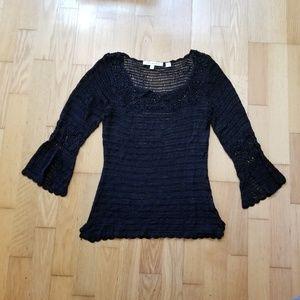 Studio M Black Crocheted 3/4 Lace Top